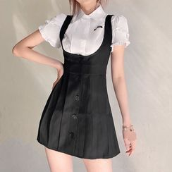 Sugarcoat - 短袖荷葉襯衫 / 扣鈕迷你寬鬆連衣裙