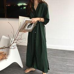 Mimi Lulu - Elbow-Sleeve Maxi Tunic Dress