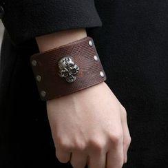 KINNO - 合金骷髅头真皮手环