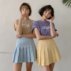 MERONGSHOP(メロンショップ) - Pleated Tennis Mini Skirt with Inset Shorts