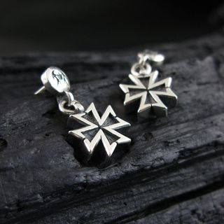 Sterlingworth - Engraved Sterling Silver Cross Earring (Single)