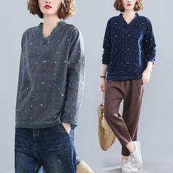 RAIN DEER - Dotted Lace Trim Long-Sleeve T-Shirt