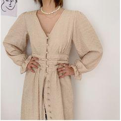 chuu - V-Neck Ruched-Waist Robe Dress