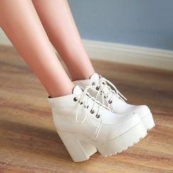 Udin - Platform High-Heel Lace Up Shoes