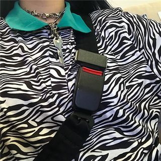 Banash - Contrast-Collar Zebra Pattern Elbow-Sleeve Polo Shirt