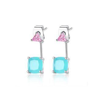 BELEC(ベレック) - Simple Personality Geometric Colorful Cubic Zirconia Earrings