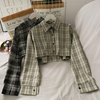 Lemongrass - Dip-Back Plaid Crop Shirt