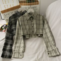 Lemongrass - Dip-Back Plaid Crop Shirt