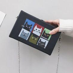 Shinian - Cat Print Box Crossbody Bag