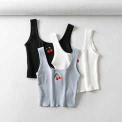 Indesi - Cherry Embroidery Knit Tank Top