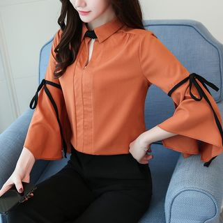 Sienne - 3/4-Sleeve Collared Chiffon Shirt