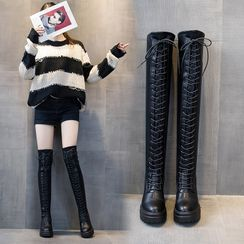 echoheaven - Platform Lace Up Over-The-Knee Boots