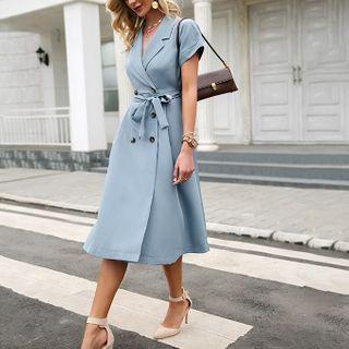 Simplee - Short Sleeve Collared Tie-Waist A-Line Dress