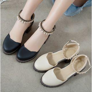 Freesia(フリージア) - Faux Pearl Ankle Strap Platform Block Heel Sandals