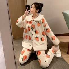 Endormi - Pajama Set: Strawberry Print Fleeced Shirt + Pants