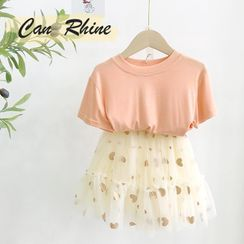 Shaneebabe - Kids Heart Print Mini A-Line Mesh Skirt