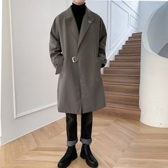 Freehop - Long-Sleeve Plain Trench Coat
