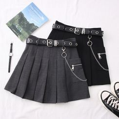 Babique - Pleated High-Waist Mini Skirt with Belt & Chain