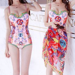 Salanghae - Set: Printed Swimsuit + Short Sleeve Print Cover-Up