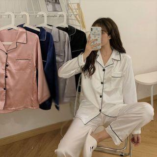 Sisyphi - Pajama Set: Contrast Trim Shirt + Pants