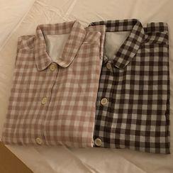 Caocaosuit - Long-Sleeve Plaid Pajama Set