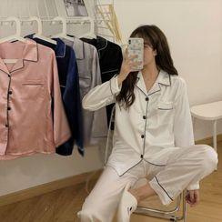 Sisyphi - 睡衣套裝: 配色邊襯衫 + 褲子