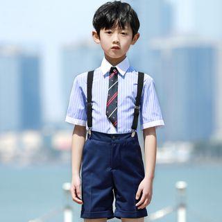 Snow Castle - Kids Set: Shirt + Suspender Shorts + Tie