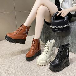 Sleeko - Platform Hidden Wedge Short Boots