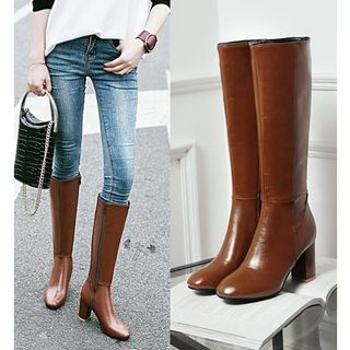 Freesia - Faux Leather Block Heel Knee-high Boots