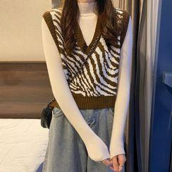 Luminato - Mock-Turtleneck Knit Top / Zebra Print Sweater Vest