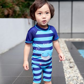 Aqua Wave - Kids Striped Short-Sleeve Rashguard  / Swim Goggles / Ear Plugs / Nose Clip / Drawstring Organizer Bag / Set