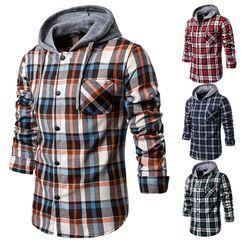 ZONZO(ゾンゾ) - Hooded Plaid Long-Sleeve Shirt