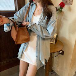 OUREA - Denim Shirt Jacket / Spaghetti Strap Plain Mini Dress