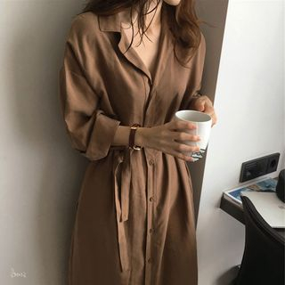 Robynn - Long-Sleeve Buttoned Maxi A-Line Dress