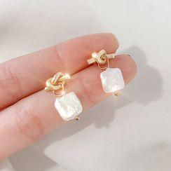 LIVSIA - 不对称合金结式仿珍珠耳坠