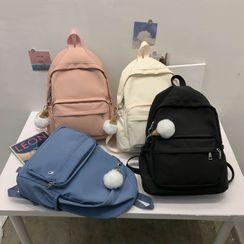 Beamie - Pom Pom Charm Nylon Backpack