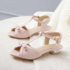 Cinnabelle - Peep Toe T-Strap Flats