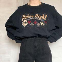 HERMITAKH - Poker Embroidery Loose-Fit Sweatshirt