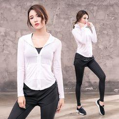 PAIYIGE - 运动套装: 拉链外套 + 文胸 + 内搭裤