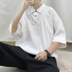 Naideth - Elbow-Sleeve Plain Polo Shirt