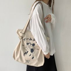 Basaran - Cartoon Print Canvas Tote Bag