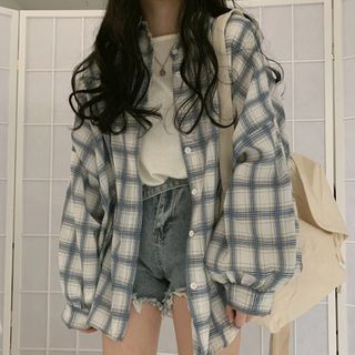 Areumdaun - Long-Sleeve Plaid Shirt