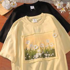 Mushini - Elbow-Sleeve Printed T-Shirt