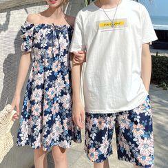 Tabula Rasa(タブララサ) - Couple Matching Short-Sleeve A-Line Dress / Shorts / T-Shirt