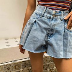 LIPHOP - Fray-Hem Wide-Leg Denim Shorts