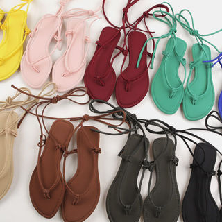 MERONGSHOP - Ankle Strap Colored Thong Sandals
