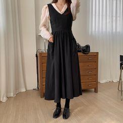 Amatler - 套装: 气球袖衬衫 + A字中身背带连衣裙