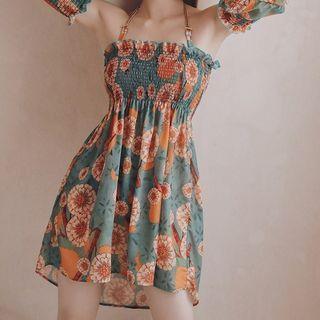 Hughiya - Couple Matching Floral Beach Shorts / Bikini / Cover-Up Dress / Set