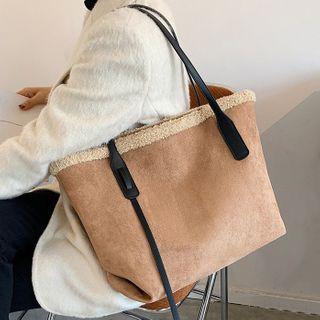 NewTown - Faux Shearling Trim Tote Bag