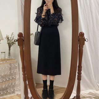 Yunhouse - Plain High-Waist Slit A-Line Midi Skirt